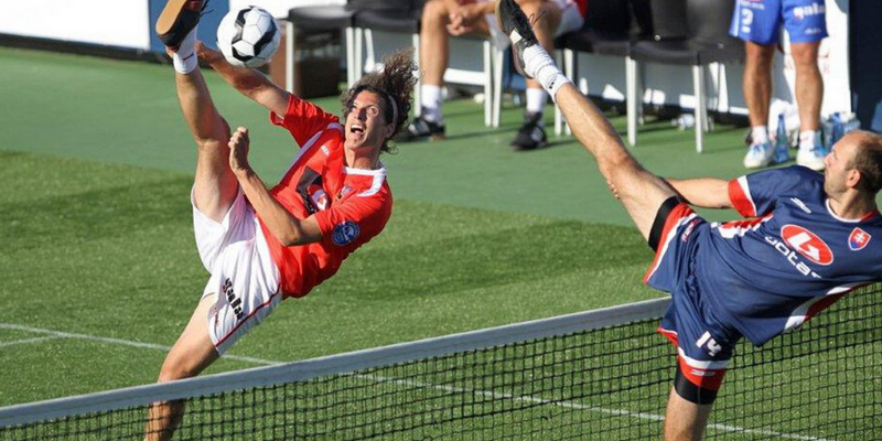 Peoples play football tennis game rules
